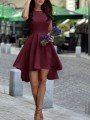 Burgundy Pleated Swallowtail High-Low High Waisted Country Cute Graduation Party Midi Dress