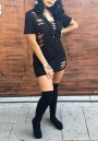 Black Cut Out Irregular Tearing Lace-up Rock And Roll Deep V-neck Trendy Mini Dress