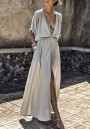Grey Pockets Draped Drawstring Side Slit Deep V-neck Party Maxi Dress