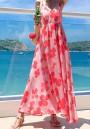 Pink Floral Draped Spaghetti Strap High Waisted Grenadine Chiffon Deep V-neck Flowy Bohemian Beach Maxi Dress