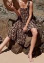 Black Floral Print Draped Backless Shoulder-Strap Square Neck Chiffon Bohemian Flowy Beach Maxi Dress