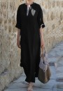 Black Pockets Double Slit V-neck Church Elegance Casual Going out Maxi Dress