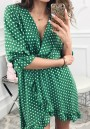 Green Polka Dot Irregular Print Ruffle V-neck Fashion Midi Dress