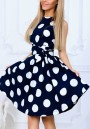 Blue Polka Dot Sashes Round Neck Sleeveless Sweet Mini Dress