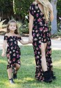 Black Floral Flowy Deep V-neck Retro High Waisted Bohemian Party Romper With Train