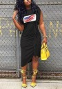 Black American Flag Print Ruffle Ruched Irregular Independence Day Casual Midi Dress