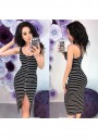 Black Striped Single Breasted Cut Out Round Neck Fashion Midi Dress
