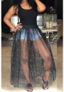 Black Patchwork Grenadine Pearl Fluffy Puffy Tulle Homecoming Party Maxi Dress