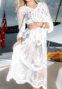 White Patchwork Lace Cut out Long Sleeve Sweet Maternity Dress
