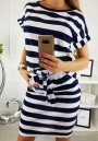 Blue Striped Pockets Sashes Round Neck Short Sleeve Mini Dress