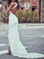 White Patchwork Lace Grenadine Backless Round Neck Fashion Maxi Dress