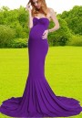 Purple Bandeau Backless Off Shoulder Mermaid Swallowtail Train Photoshoot Baby Shower Maternity Maxi Dress