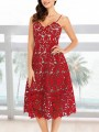 Red Patchwork Lace Pockets Spaghetti Strap Backless Midi Dress