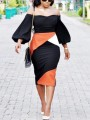 Black Color Block Off Shoulder Backless Lantern Sleeve Scuba Bodycon Elegant Midi Dress