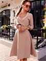 Apricot Plain Draped Belt V-neck Fashion Midi Dress