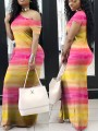 Yellow- Red Gradient Striped Asymmetric Shoulder Short Sleeve Casual Maxi Dress