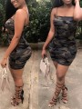 Army Green Camo Print Spaghetti Strap Backless Bodycon Clubwear Party Casual Mini Dress