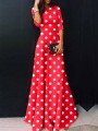 Red Polka Dot High Waisted Draped Plus Size Elegant Homecoming Party Maxi Dress
