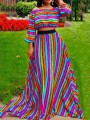 Rose Carmine Rainbow Striped Jamaican Off Shoulder Two Piece High Waisted Long Sleeve Party Maxi Dress