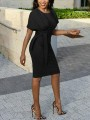 Black Sashes Cap Sleeve High Waisted Plus Size Bodycon Office Worker/Daily Midi Dress