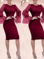 Burgundy Patchwork Pearl Grenadine Bodycon Long Flare Sleeve Elegant Prom Midi Dress