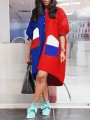 Red-Blue Patchwork Single Breasted Irregular Pockets High-low Half Sleeve Casual Midi Dress