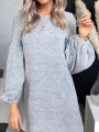 Grey Print Round Neck Long Sleeve Casual Mini Dress