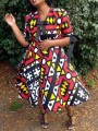 Red Geometric Pattern Half Sleeve Totem High Waisted Skater Tutu Party Midi Dress