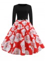 Red Flowers Print Round Neck Long Sleeve Party Midi Dress