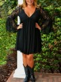 Black Patchwork Lace Single Breasted Pleated Bell Sleeve Deep V-neck Plus Size Elegant Party Midi Dress