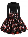 Black Red Floral Bow Long Sleeve Party Midi Dress