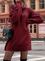 Red Draped High Neck Long Sleeve Casual Mini Dress