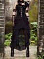 Black Patchwork Lace Cut Out Layers Of Ruffle Gothic Ankle Length Party Midi Dress