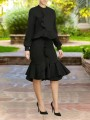 Black Cascading Ruffle Two Piece Front Slit Bodycon Long Sleeve Elegant Party Mini Dress