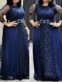 2ea3b371 Navy Blue Patchwork Lace Bright Wire Pleated Long Sleeve Sparkly Glitter  Party Maxi Dress