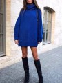 Blue Cowl Neck Long Sleeve Oversize Knitwear Mini Dress