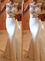 White Patchwork Lace Sleeveless Mermaid Prom Evening Party Maxi Dress