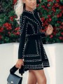 Black Sequin Two Piece Long Sleeve Sparkly Glitter New Year's Eve Party Mini Dress