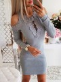 Grey Patchwork Cut Out Backless Long Sleeve Fashion Midi Dress
