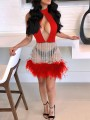 Red Patchwork Grenadine Sequin Fuzzy Cut Out Sparkly Glitter Bodycon Party Mini Dress