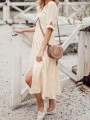 Apricot Single Breasted Solid V-neck Elegant Church Homecoming Party Midi Dress