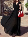 Black Chiffon Draped Pleated Irregular Cut Out V-neck Long Sleeve Elegant Maxi Dress