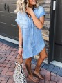 Light Blue Patchwork Pockets Buttons V-neck Fashion Jeans Mini Dress