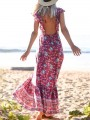 Red Floral Ruffle Draped Tie Back Backless Square Neck Short Sleeve Bohemian Maxi Dress