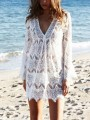 White Lace Cut Out Draped V-neck Long Sleeve Bohemian Mini Dress
