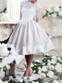 White Patchwork Lace Pleated Backless Round Neck Long Sleeve Elegant Party Midi Dress