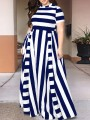 Navy Blue Striped Pleated Plus Size Prom Evening Party Maxi Dress