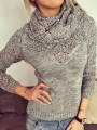 Grey Plain Buttons Hollow-out 2-in-1 Ruffle Collar Pullover Sweater
