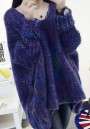 Purple Colorful Irregular Round Neck Long Sleeve Casual Pullover Sweater