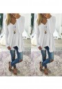 White Plain Irregular V-neck Casual Pullover Sweater